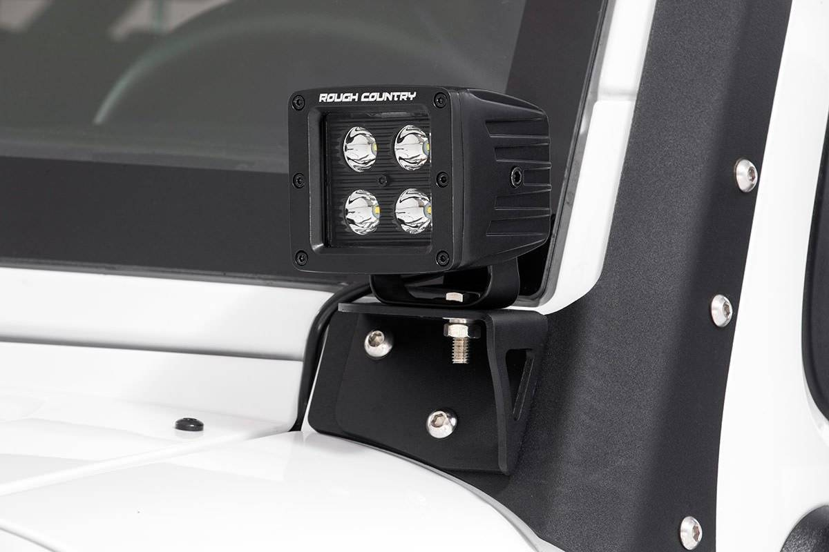jeep windshield jk light wrangler mounts lower led rough country brackets mount kit cree lights mounting lighting series 4wd inch