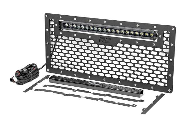 Rough Country - Jeep Mesh Grille w/20in Single Row Black Series LED (07-18 Wrangler JK)