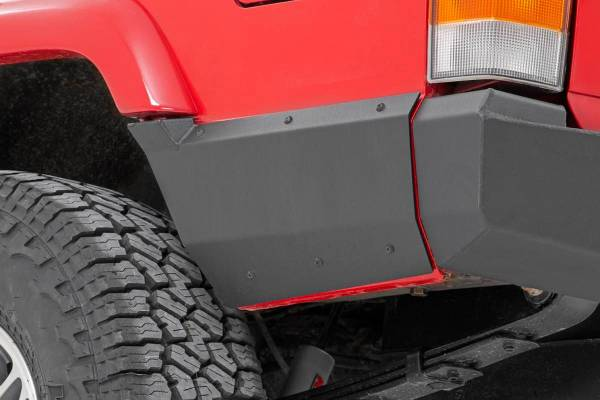Rough Country - Jeep Rear Lower Quarter Panel Armor for Factory Flare (97-01 Cherokee XJ)