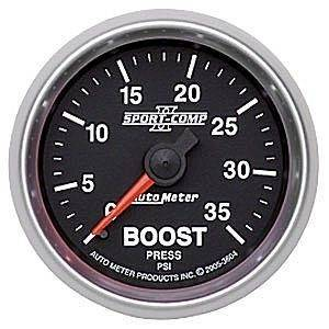 "Gauges & Pods - Gauges - Autometer - Autometer 3604 2-1/16"" Sport Comp II Series 35psi Mech Boost Gauge"