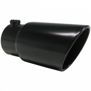 "Exhaust - Exhaust Tips - MBRP - MBRP T5074BLK 5"" x 6"" x 12"" Black Dual Wall Angle Cut Rolled End Tip"