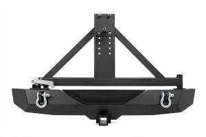 Rough Country - Full-Width Rock Crawler Rear Bumper w/ Tire Carrier, Hitch & D-Rings - Image 1