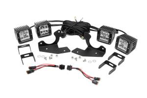 Rough Country - Dual 2-inch Chrome Series CREE LED Fog Lights & Mounts Kit (Chevrolet HD Pickups)