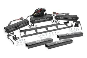 Rough Country - Jeep 8in Vertical LED Grille Kit (3PC - Black Series | 07-18 Wrangler JK)