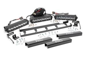 Rough Country - Jeep 8in Vertical LED Grille Kit (3PC - Chrome Series | 07-18 Wrangler JK)