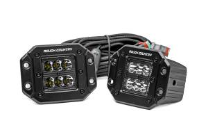 Rough Country - 2-inch Square Flush Mount Cree LED Lights - (Pair | Black Series, Spot Beam)