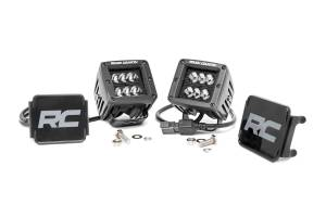 Rough Country - 2-inch Square Cree LED Lights - (Pair | Black Series, Spot Beam)