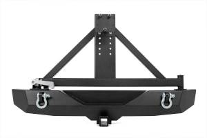Rough Country - Full-Width Rock Crawler Rear Bumper w/ Tire Carrier, Hitch & D-Rings - Image 2