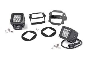 Lighting - Offroad Lights - Rough Country - 2-inch Chrome Series CREE LED Fog Light Kit (10-18 Wrangler JK)
