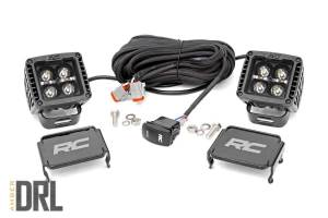 Lighting - Offroad Lights - Rough Country - 2-inch Square Cree LED Lights - (Pair | Black Series w/ Amber DRL)