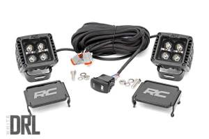Lighting - Offroad Lights - Rough Country - 2-inch Square Cree LED Lights - (Pair | Black Series w/ Cool White DRL)