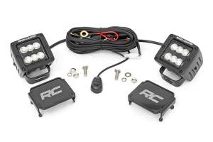 Lighting - Offroad Lights - Rough Country - 2-inch Square Cree LED Lights - (Pair | Black Series, Flood Beam)