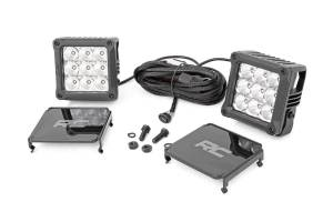 Lighting - Offroad Lights - Rough Country - 4-inch Square Cree LED Lights - (Pair | Chrome Series w/ Cool White DRL)