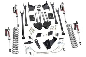 Steering And Suspension - Lift & Leveling Kits - Rough Country - 6in Ford 4-Link Suspension Lift Kit | Vertex Reservoir Shocks (11-14 F-250 4WD | Overloads)