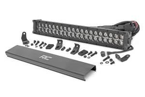 Ford Powerstroke - Rough Country - 20-inch Cree LED Light Bar - (Dual Row | Black Series w/ Cool White DRL)