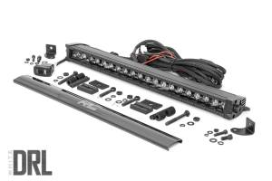 Ford Powerstroke - Rough Country - 20-inch Cree LED Light Bar - (Single Row | Black Series w/ Cool White DRL)